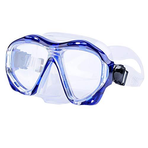 Morgiana Unisex Swimming Mask Goggle with Anti-Fog and UV Protection Lenses - Blue