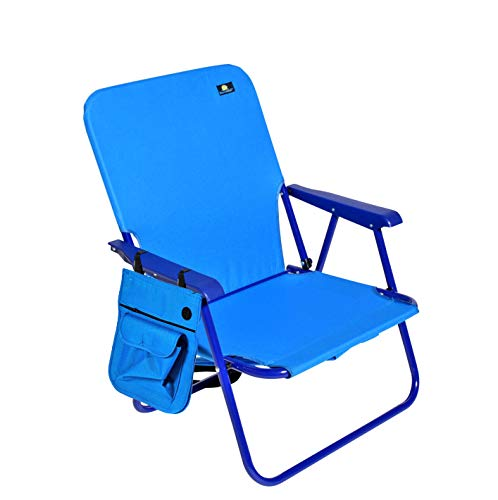 Mid Height Portable Folding Steel Backpack Beach Chair and Camping Sports Chair w Side Pouch