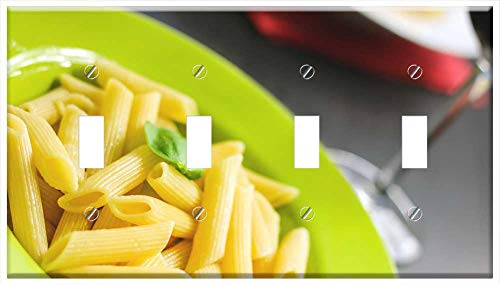Switch Plate 4 Gang Toggle - Rigatoni Pasta Noodles Food Meal Cuisine Cooked