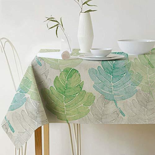 GWELL Grüne Pflanze Tischdecke Leinen Tischtuch Pflegeleichte Tischwäsche Tischläufer Eckig viele Größe Farbe wählbar 140×180cm Blatt-C