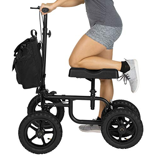 Vive Mobility Knee Walker - Steerable Scooter For Broken Leg, Foot, Ankle Injuries - Kneeling Quad Roller Cart - Orthopedic Seat Pad For Adult and Elderly Medical - 4 Wheel Caddy Crutch - (12in Black)