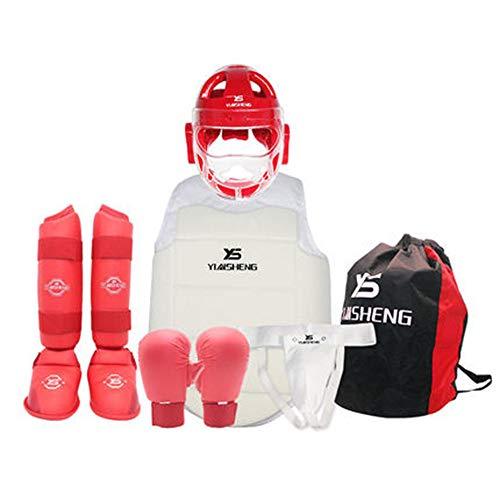 ZLBZBB Box Protektoren Set 6 mit Boxhandschuhe Kopfschutz Inguinal Schutz Brustschutz aus Mikrofaser, Rot L