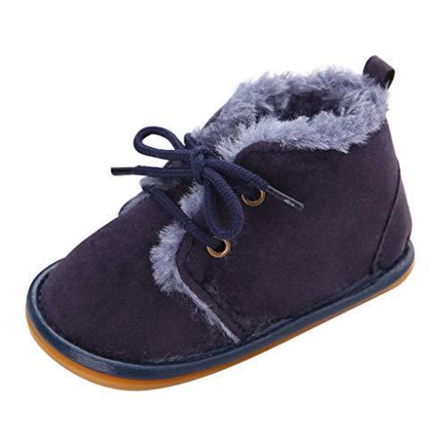 Mingfa Baby Winterstiefel, warm, dick, für Kleinkinder, Jungen, Mädchen, Fell, Schneeschuhe, Schnürschuhe, für Babybett, für 0-18 Monate Age:12~18 Month dunkelblau