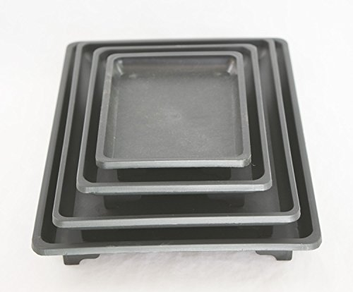 4 Mix Rectangular Black Plastic Humidity Tray for Bonsai Tree and House Plants 5.25'/ 7'/ 9'/10.5'