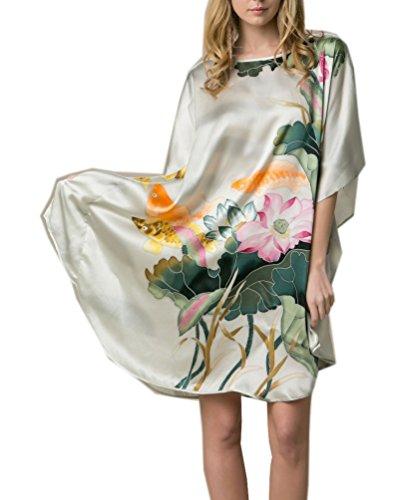 prettystern 100% Seide Damen Nachthhemd Tunika mit Handbemalter Chinesischer Malerei Hellgrün Fisch Seerosen YBS011