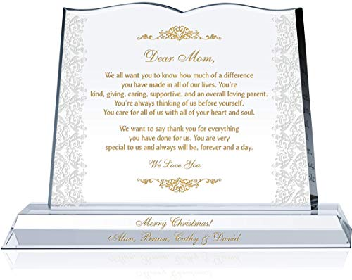 mom plaques Personalized Crystal Appreciation Gift Plaque to Mom from Daughter or Son, Unique Custom Gift to Mother on her Birthday, Christmas or Mother's Day (S - 8