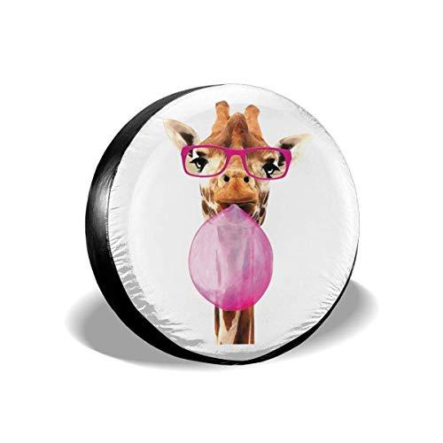 Asa Dutt528251 Cubiertas de Llantas de Repuesto, Protectores de Llantas Resistentes a la Intemperie, Gafas de Goma de mascar Jirafa Cubierta de llanta de Repuesto Impermeable Resistente