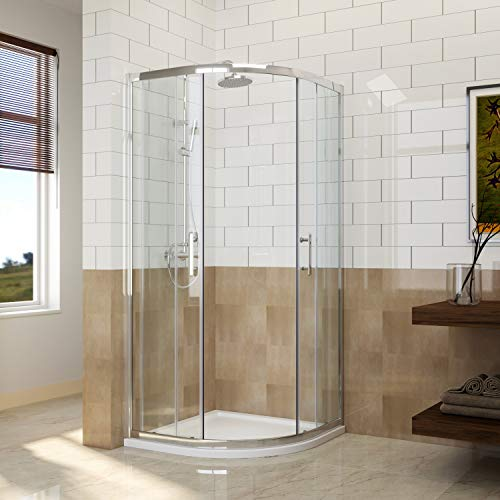 ELEGANT 900 x 900 mm Quadrant Shower Enclosure 6mm Easy Clean Glass Sliding Shower Cubicle Door