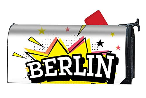 Berlin Comic Customized Magnetic Mailbox Cover Home Garden Cute Mailbox Wraps with Full-Surface Magnet On Back 21x18 inch