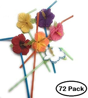 Oojami Hibiscus Flower Bendable Straws (Pack of 72)