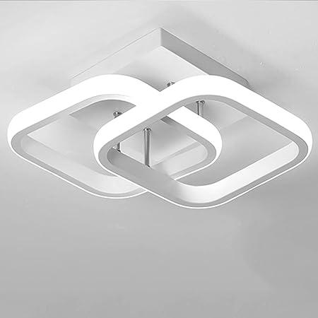 Lustre Plafonnier 2 LED Rectangulaire Moderne 22W Lumière Blanche Froide 6000K (Noir/Blanc) Plafonnier pour Couloir Cuisine Salon Studio (White)