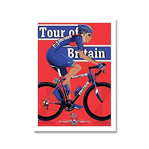YINGFUN Deportes Bicicleta Ciclismo Lienzo Pintura Vintage Tour Paisaje Francia Gran Bretaña Ciclista Cartel de la Pared Imprimir imágenes Decoración del hogar (Color : D, Size : 50x70cm No Frame)
