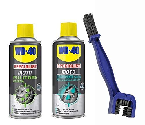 Kit de nettoyage et lubrification de chaîne WD-40 – Nettoyant de 400 ml + lubrifiant de 400 ml + Brosse
