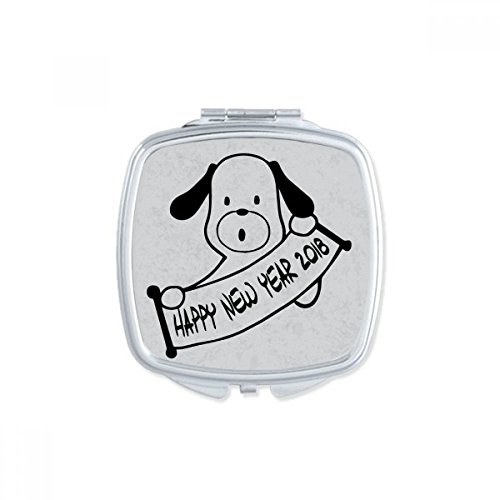 DIYthinker Bonne année 2018 drôle Big Dog Place Makeup Compact Miroir de Poche Miroirs Mignon Petit Cadeau Portable à la Main Multicolor