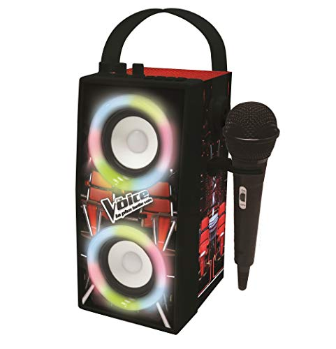 LEXIBOOK-La Voz-Altavoz portátil Bluetooth micrófono, Efectos de luz, Karaoke, inalámbrico, USB, Tarjeta SD, batería Recargable, Negro/Rojo BTP180TVZ