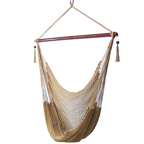Sunnydaze hanging rope hammock chair swing - caribbean style extra...