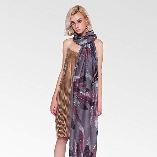 ClothHouse 2 Colori Piuma Stampa Sciarpe Donna Moda, Sciarpe Ladies, Head Wrap, Blanket Scarf, Presents for Women,Gray
