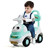 GYMAX Ride-on Push Car, 3-in-1 Baby Sliding Car with Flash Light, Music and Large Storage Compartment, Multi-purpose Baby Walker for Kids