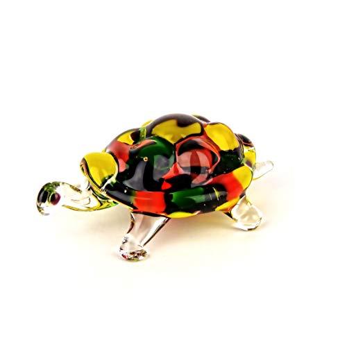 Glastier, Glasfigur, Schildkröte aus Glas, Lauscha, Handarbeit,bunt
