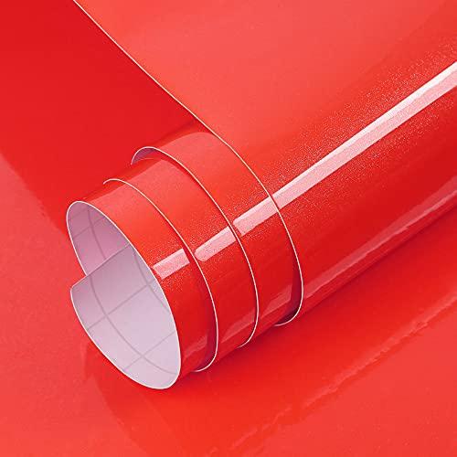 Vinilo Papel Adhesivo para Muebles Rojo Perla/Elegante/Muebles Pegatinas Impermeable a Prueba de Aceite para el Forro de los Muebles/Armario Mesa Baño Cocina Decoración 300x60cm