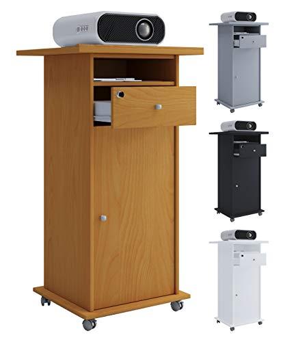 VCM Standfuß Möbel Rollwagen Schublade Rack für Beamer/Projektoren Neta mit Tür Weiß