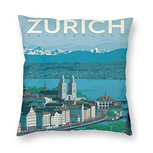 N\A Funda de Almohada Cuadrada de Viaje Suiza Vintage Travel Zurich Fundas de Cojines con sofá con Cremallera 1 Paquete