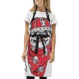 Mokale Delantal,Retrato Perro Pug Casco Vikingo Rojo,Babero de Cocina Unisex con Cuello Ajustable para cocinar jardinería, tamaño Adulto