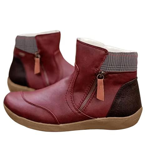 Bcshiye Botas de tobillo de cuero con cremallera cómoda zapatos de arco de apoyo cremallera planos botines al aire libre fiesta botas cortas