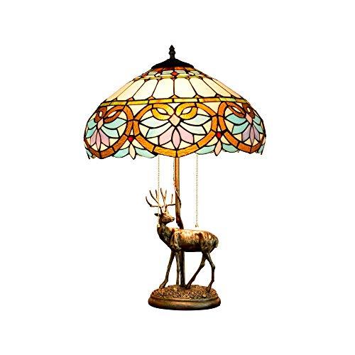 BINGFANG-W dormitorio 16' estilo americano Elk base de la aleación creativa de amor del vitral de la sala de estar Restaurante Bar de noche dormitorio lámpara de mesa Lámparas de tabla Lámpara de mesa