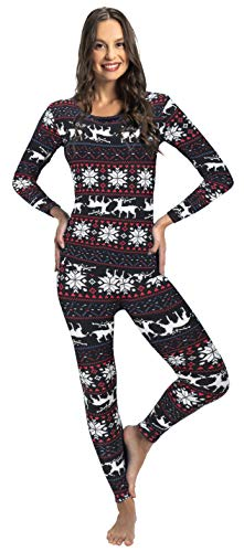 Rocky Christmas Thermal Underwear for Women Fleece Lined Thermals Women's Base Layer Long John Set (Christmas Design - Midweight - Medium)
