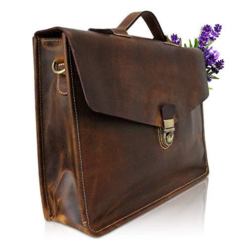 Corno d´Oro Herren Aktentasche Leder I Hochwertige Herrentasche mit Laptopfach 15,6 Zoll...