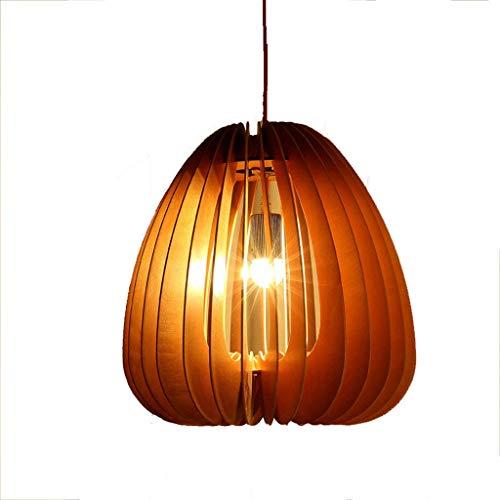 YANGQING Lámpara de luz de madera maciza, lámpara de araña ovalada de madera