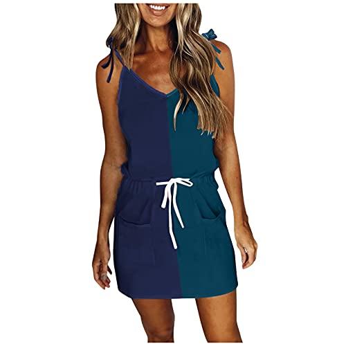 URIBAKY - Vestido de mujer sin mangas y cuello en V para mujer, vestido corto para mujer, elegante A-malva S