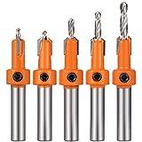 Heyu-Lotus 5 Pcs HSS Countersink Drill Bit Set, Woodworking Chamfer Screws Hole Drills Bit for Wood Drilling, Plastic, Drilling Holes