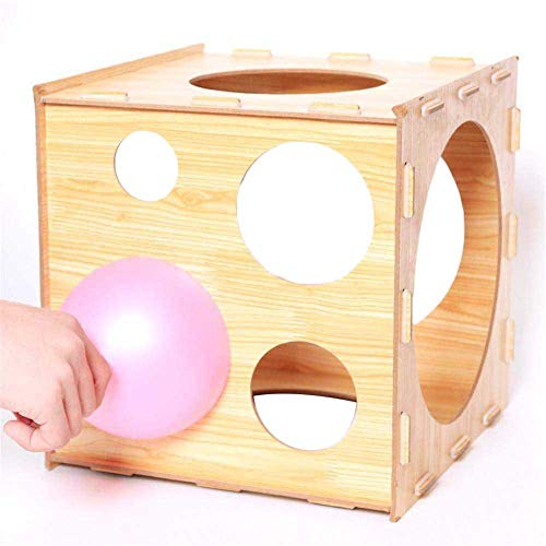 Dengofng Caja de Plantilla de Cubo de tamaño de Globo de Madera Caja de tamaño de Globo de 9 Agujeros, Herramienta de medición de Globo de Cubo de Madera para Boda