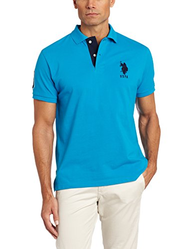 US Polo Assn. Polo da uomo a maniche corte con applique - Blu - XL
