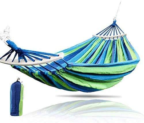 Wyxy Hamaca de jardín Doble Hamaca portátil Deportes Viajes al Aire Libre Camping Columpio Silla Colgante Cama de Rayas de Lona Gruesa Fácil de Limpiar
