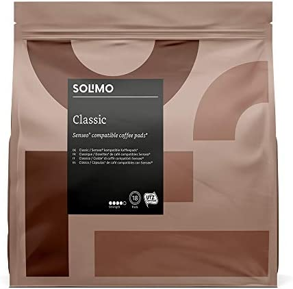Amazon Brand - Solimo Senseo Compatible Pads Classic - UTZ Certified - 90 Pads (5 Packs x 18)