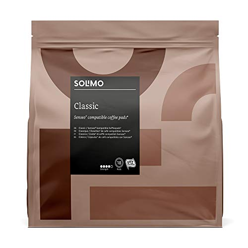 Marca Amazon - Solimo Cápsulas Classic , compatibles con Senseo*- 90 cápsulas (5x18)