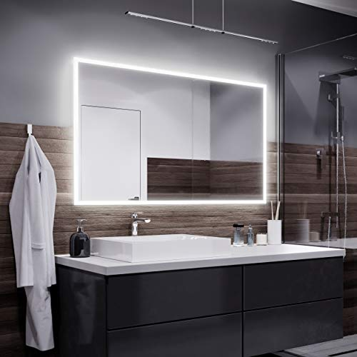 Alasta Specchio Bosten Illuminazione da Bagno Specchio Controluce LED | 140x70cm | Specchio da Parete Molte Dimensioni | Bianco Freddo | A++