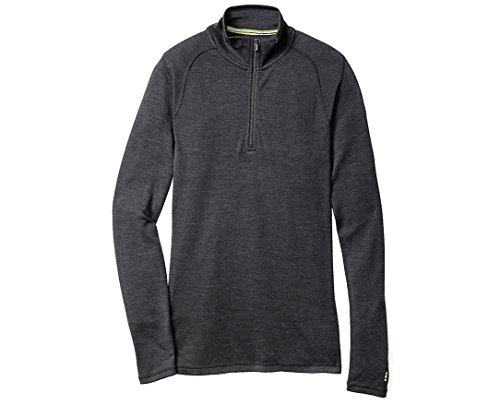 Smartwool Men's Base Layer Top - Merino 250 Wool Active 1/4 Zip Outerwear Charcoal (CHARCOAL, L)