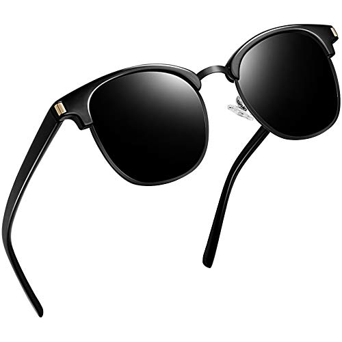Joopin Óculos de Sol Feminino Marca Masculina Polarizado Semi Sem aro Espelhados Óculos de Sol Proteção UV (Preto Retrô )