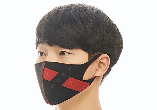 【LOOKA ルカ】プレミアム デザイン マスク UV 花粉症 インフルエンザ 対策 繰り返し 洗える 蒸れない 肌荒れしない 個包装 黒 ファッション Mサイズ Sサイズ 男女兼用 (BLACK×RED) M