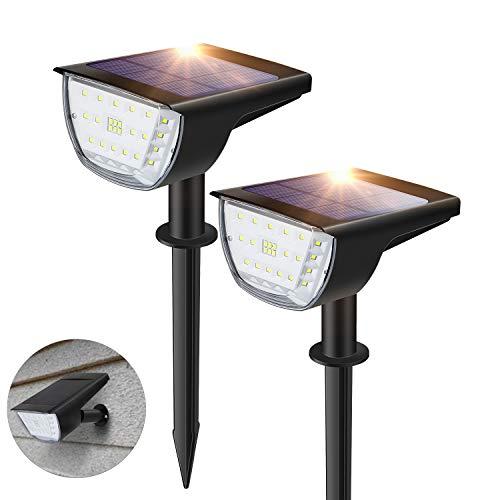 Solarleuchte Garten, 32 LEDs Gartenleuchten Solar, 3 Helligkeitsstufe, IP65, 90°Drehbar Solar Strahler Wandleuchte, Gartenbeleuchtung für Bäume, Sträucher, Gartenweg 2 Stück