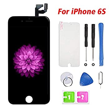 FFtopu iPhone 6s Screen Replacement Black LCD Display & Touch Screen Digitizer Frame Assembly with Repair Tools