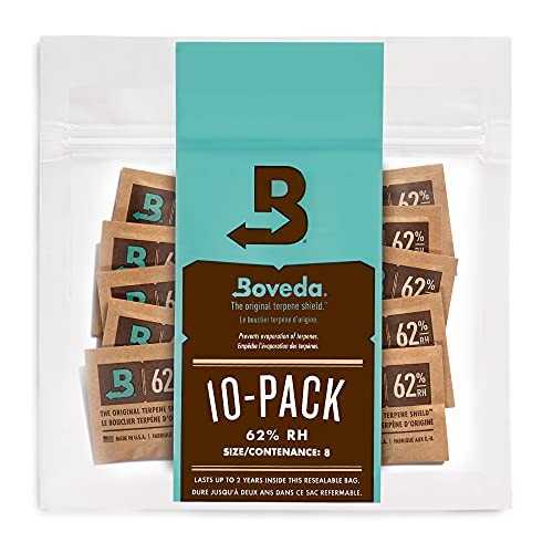 Boveda 62% RH 2-Way Humidity Control | Size 8 in 10-Count Resealable Bag