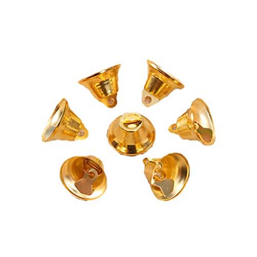 BESTOYARD Weihnachten Glocken Metall Jingle Bells Tiny Glocken für DIY Handwerk Basteln Weihnachtsbaum Deko 2,1 cm 50 Stück (Golden)