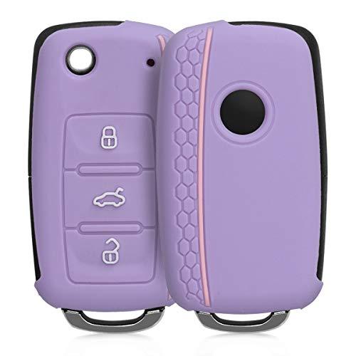 kwmobile Autoschlüssel Hülle kompatibel mit VW Skoda Seat 3-Tasten Autoschlüssel - Silikon Schutzhülle Schlüsselhülle Cover in Pastelllila Rosa