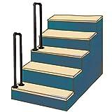 Handrail de transición Se Adapta a 1 Pasos, escaleras Interiores y Exteriores Banister Rail Rail Forjado Hierro de Seguridad Soporte de Seguridad con Kit de instalación Rieles de Mano, Negro