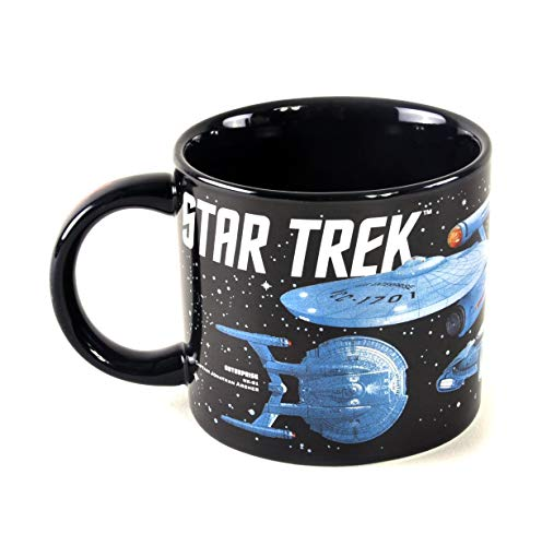 Star Trek - Starships of Star Trek Coffee Mug - Different Star Ships as well as Their Captains - Comes in a Fun Gift Box